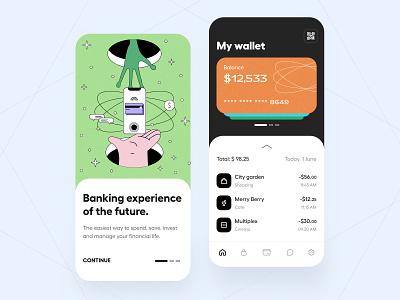 Fintech project- App ui ponee illustration design ux graphic design