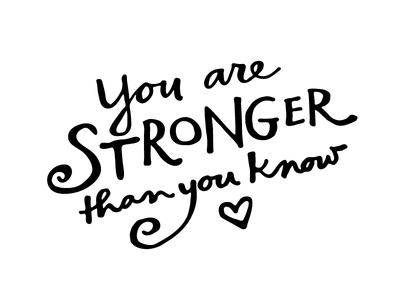 Stronger words hand-drawn typography lettering
