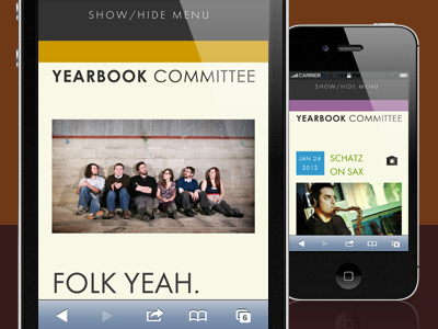 Yearbook Committee site - mobile iphone mobile website music