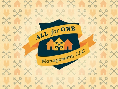 All for One logo house pattern banner ribbon