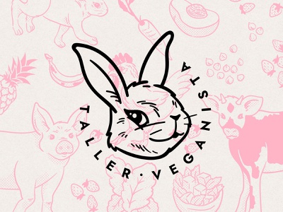 taller veganista veganism vegan pink bunny illustration logo identity design