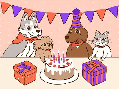 birthday vector cake gift box cat dog