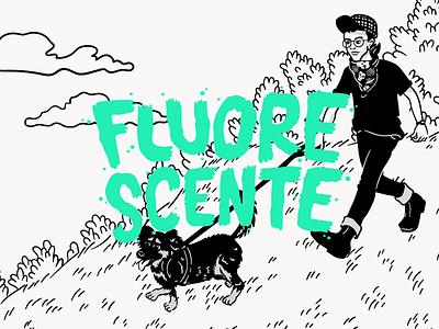 fluorescente.design grass dog portrait lettering drawing illustration