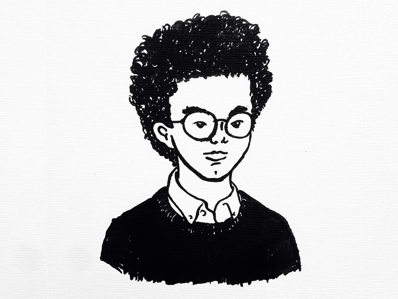 Curly Kid kid toroymoi curly portrait ink illustration