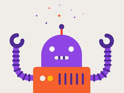 Robot automation marketing inbound vector drawing illustration