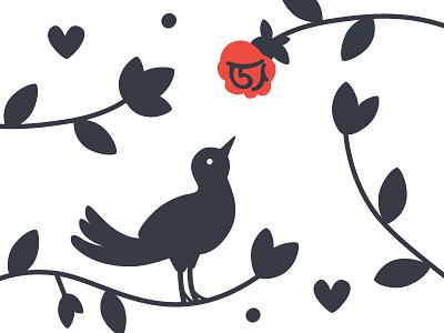 Pajarito wedding design illustration vector drawing