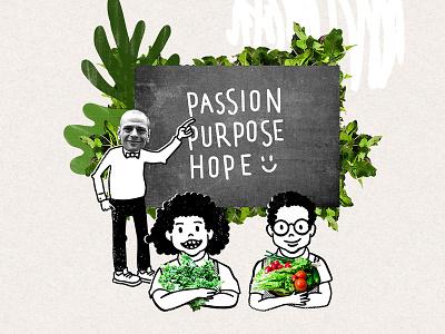 Passion, Purpose and Hope new york bronx farming plants green bronx machine editorial illustration drawing ink illustration