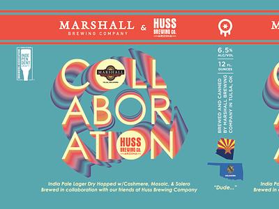 Collaboration Beer Label typography illustration label beer vector design branding oklahoma craft beer