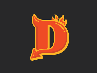 D is for Devil fire type design
