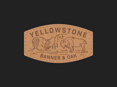 Yellowstone Banner & Oak Patch leather geyser bison national park