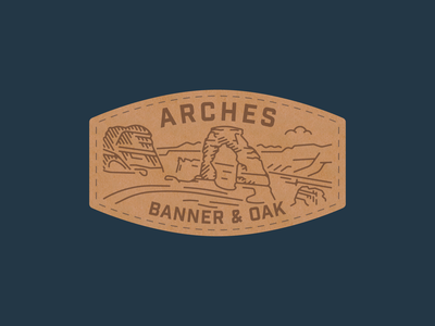 Arches Banner & Oak Patch leather rocks hiking national park