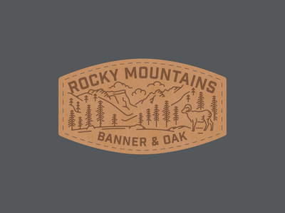Rocky  Mountain Banner & Oak Patch leather mountains ram national park
