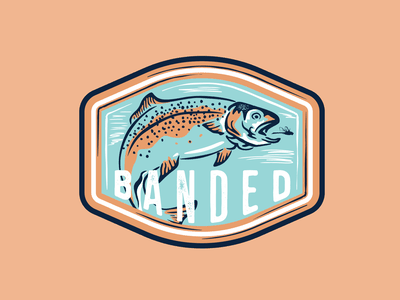 BANDED TROUT fishing fish illustration outdoor