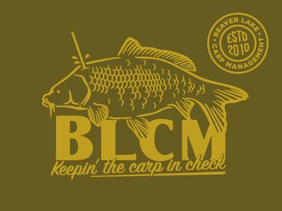 Beaver Lake Carp Management logo illustration fishing fish arkansas outdoor