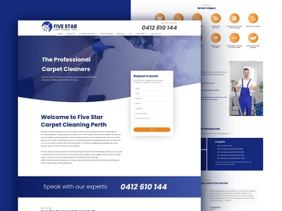 Five Star Carpet Cleaning Perth creative design web landing clean ui design cleaning service carpet carpet cleaning homepage branding web design webdesign
