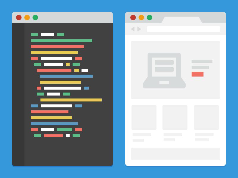 Chrome and Sublime text flat icon illustration source developer sublime text chrome inspector ui color