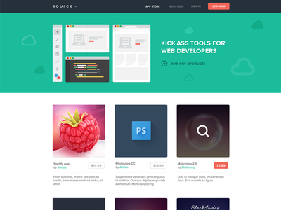 Source store source web tools site landing page store flat css