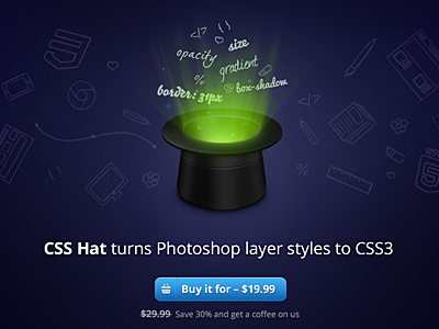 CSS Hat is here! css3 css css hat layer styles plugin photoshop piffle design web html code