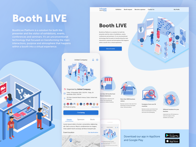 Booth Live website web android ios flat design ui ux web design presentation