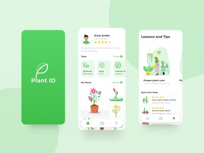 Plant ID logo android ios app design art illustrations presentation app green plant