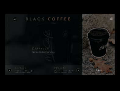 McCafe | Black Coffee webpagedesign dark theme dark ui black coffee design ux webdesign adobexd designer flat design