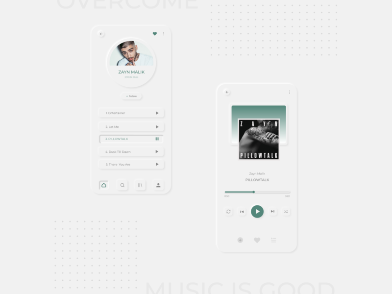 Listen | Mobile app ux design minimalistic grey music playlist neumorphism neumorphic design designer xd design adobexd mobile app design mobile ui music player music app