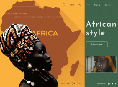 Landing page African headscarves african woman landing page style african design africa