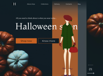Landing of women's shop pumpkin orange girl woman shop halloween web illustration design