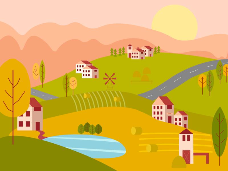 Landscape illustration design illustration design