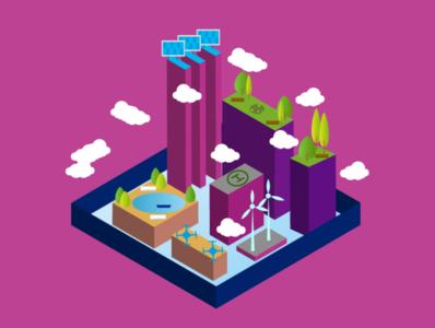 City of future color city vector design illustration