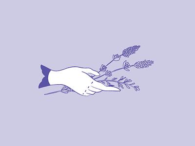Lavender hand lavender icon design illustration