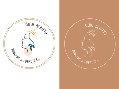 Quin Beauty Cosmetic flat branding logo illustration design