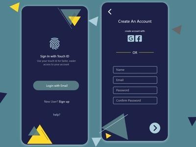 Sign in / Sign up Screen app ux ui design