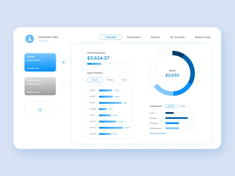 Budget App UI Design money app budget application minimalism blue clean simple product design webdesign user experience user interface ux design ui design typography ux ui design graphic design minimal