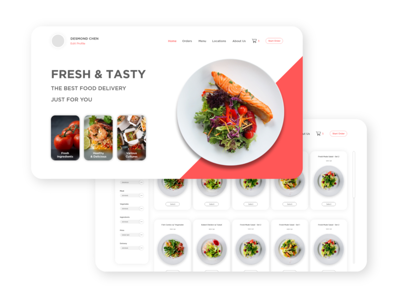 Food Delivery Site UI user experience user interface interactive design prototype product design web design ui  ux design uidesign minimals minimalism flat app web typography branding ui ux design graphic design minimal