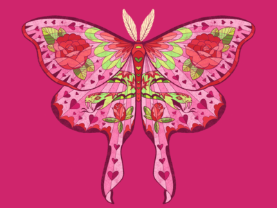 Thorns and Fangs aesthetics american traditional roses moth design 2020 illustration graphic design