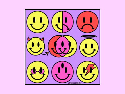 Emotional Chaos poster design poster art branding vector aesthetic 60s aesthetic smiley face illustrator design illustration 2020 graphic design