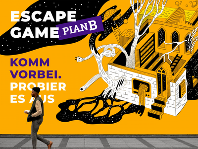 PlanB. Identity for Escape games & VR space platform. vector wall art sketches branding animation interior quest freshdesign fresh gaming