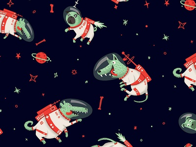 space dogs pattern