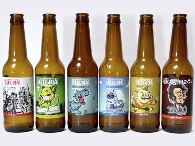 Cervezas Alegría color alegria cervezas cartoon craftbeer beer labels label