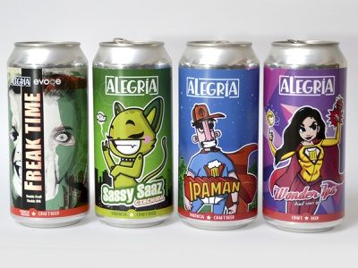 Cervezas Alegría colors alegria cervezas craftbeer cartoon labels label beers beer cans can