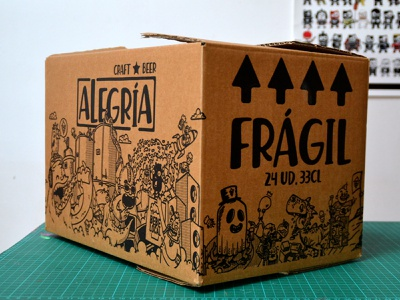 Cervezas Alegría illustration alegria cervezas craftbeer beers beer packaging doodle cartoon box