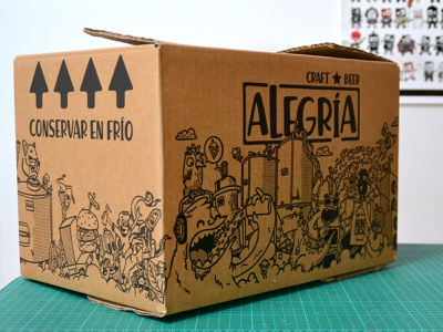 Cervezas Alegría alegria cervezas illustration party doodle cartoon craftbeer beers beer packaging box