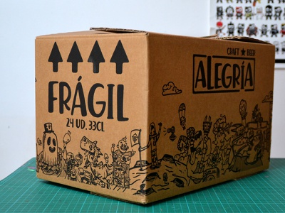 Cervezas Alegría illustration doodle cartoon craftbeer packaging box beers beer alegria cervezas