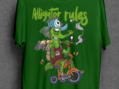 Alligator rules cap skull biker rider ganster animal lizard tshirt cartoon crocodile rules alligator