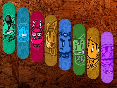 freak zoo skateboards monsters animals skateboard skate zoo freak colors cartoon