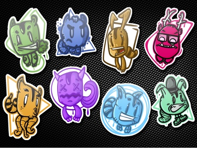 Freak zoo stickers illustration animals animal mutants monsters colors cartoon mutant stickers zoo freak