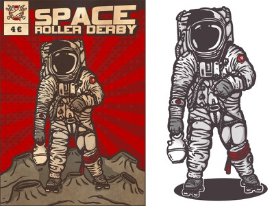 Space roller derby comic botijo astronaut moon colors illustration cartoon spaceship derby roller spaceman space