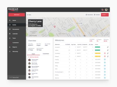 Racecar Build desktop ux ui map location build management