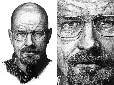 Walter White Illustration breaking bad walter white bryan cranston portrait fan art illustration sketch pen